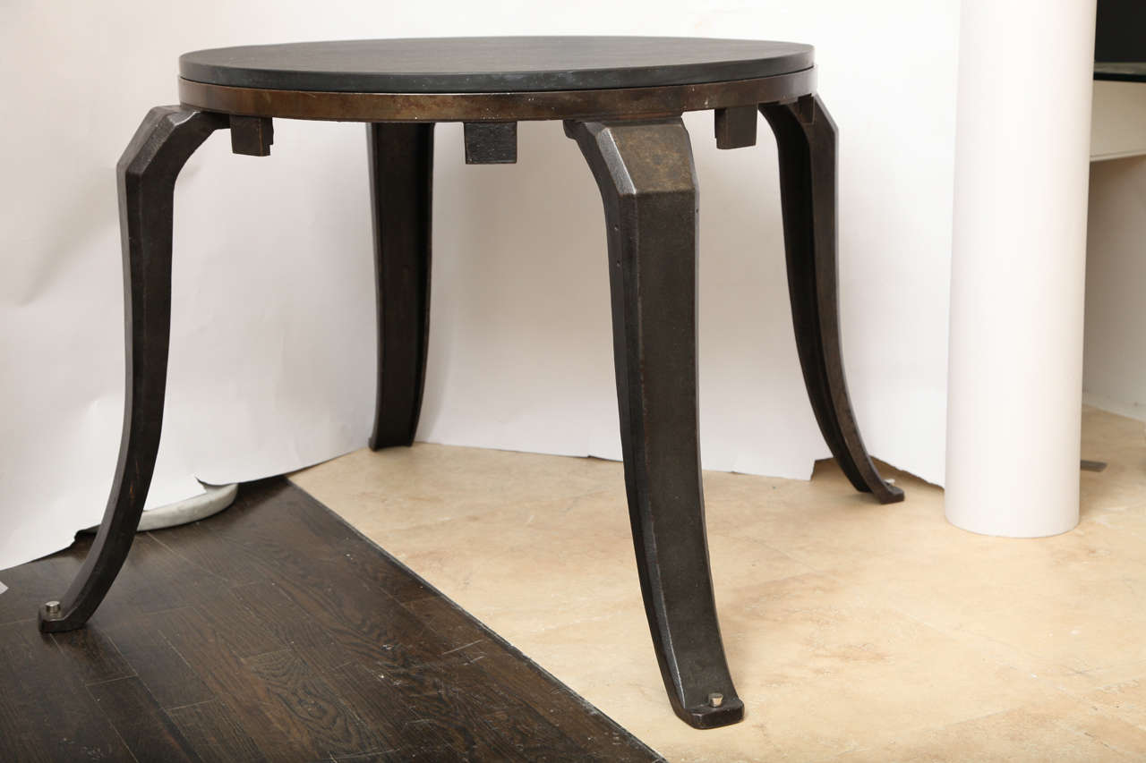 Brass Industrial Architectural Iron Table 1930's For Sale