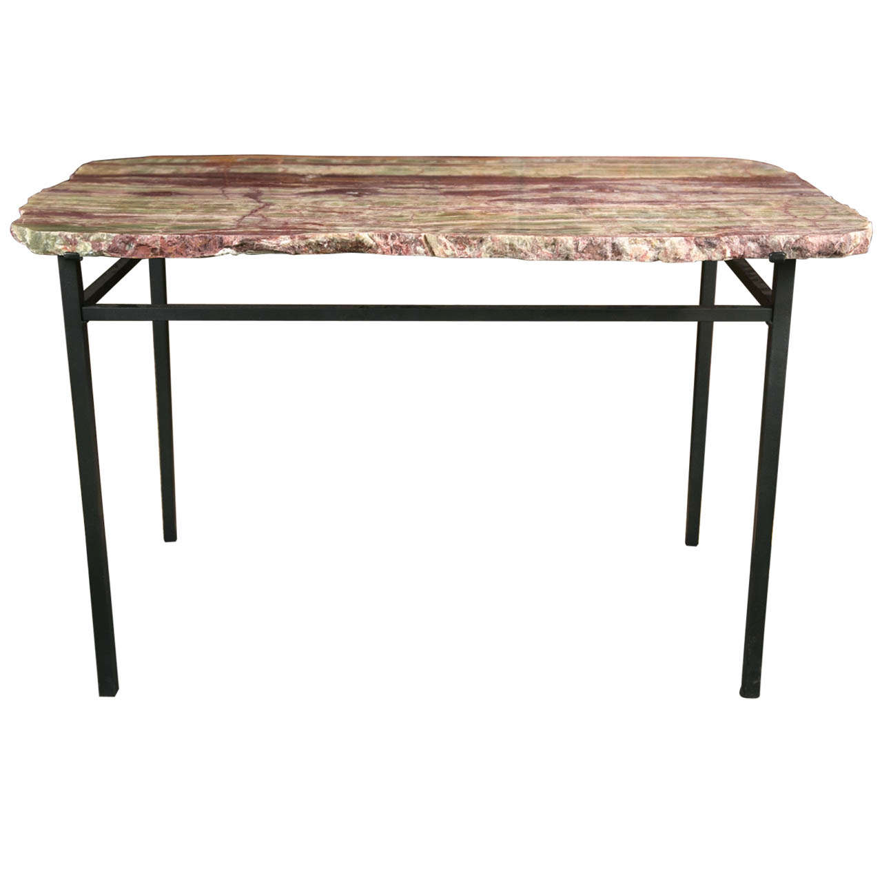 Grained stone coffee table on cast iron stand at 1stdibs for Cast iron outdoor coffee table