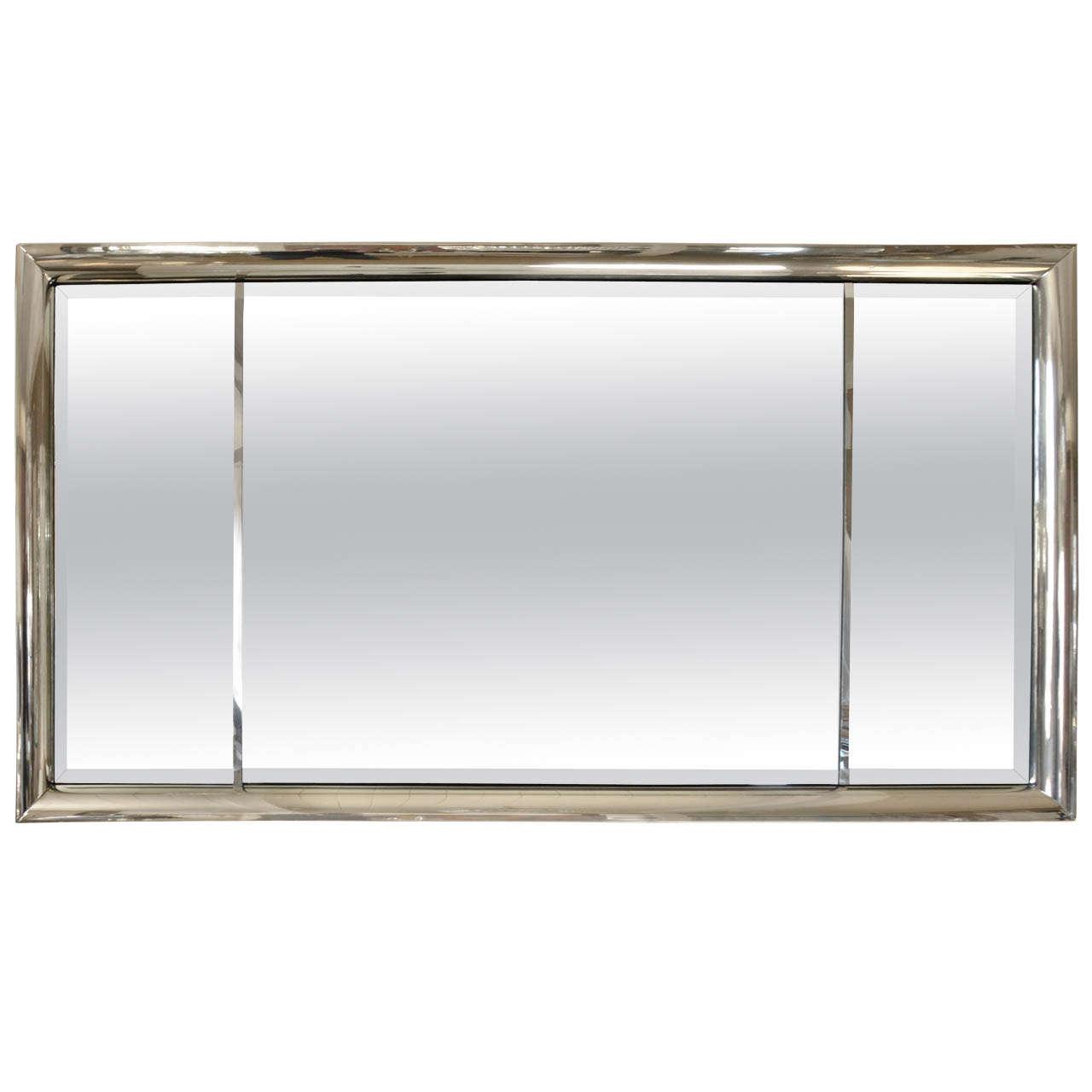 Chrome framed beveled glass mirror by mastercraft at 1stdibs for Beveled glass mirror