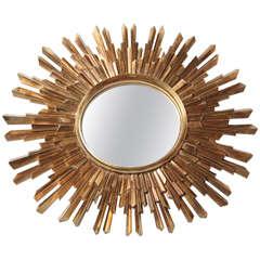 Giltwood Sunburst Convex Mirror