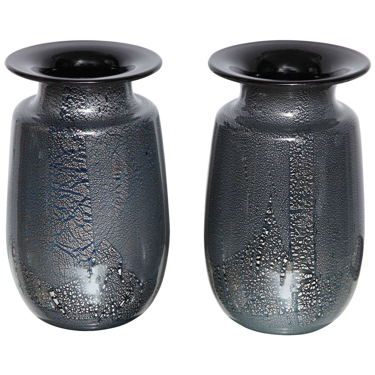 Seguso vetri darte siver leaf black glass vases at 1stdibs seguso vetri darte siver leaf black glass vases for sale reviewsmspy
