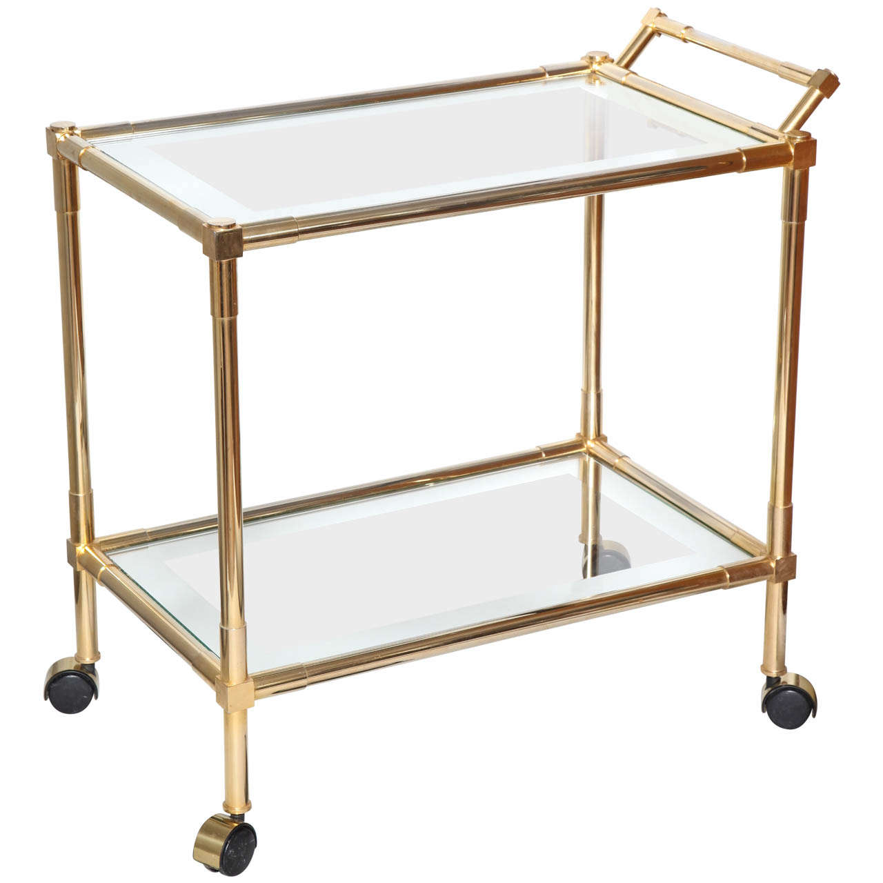 brass and glass mid century bar cart at 1stdibs. Black Bedroom Furniture Sets. Home Design Ideas