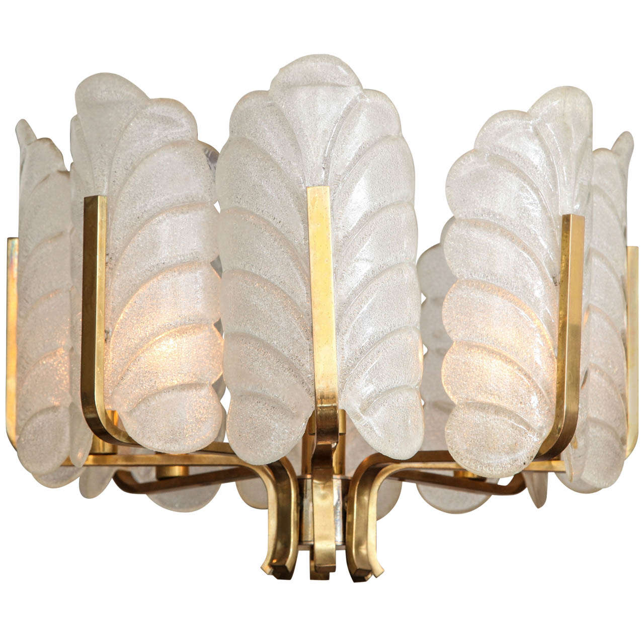 Leaf Form Murano Glass Brass Chandelier by Carl Fagerlund for Orrefors