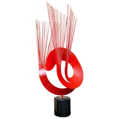 Curtis Jere Red Metal Sculpture on Marble Base