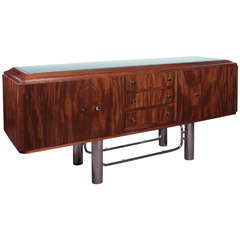 French Modern Sideboard in Flame Mahogany and Chromium with Frosted Glass Top