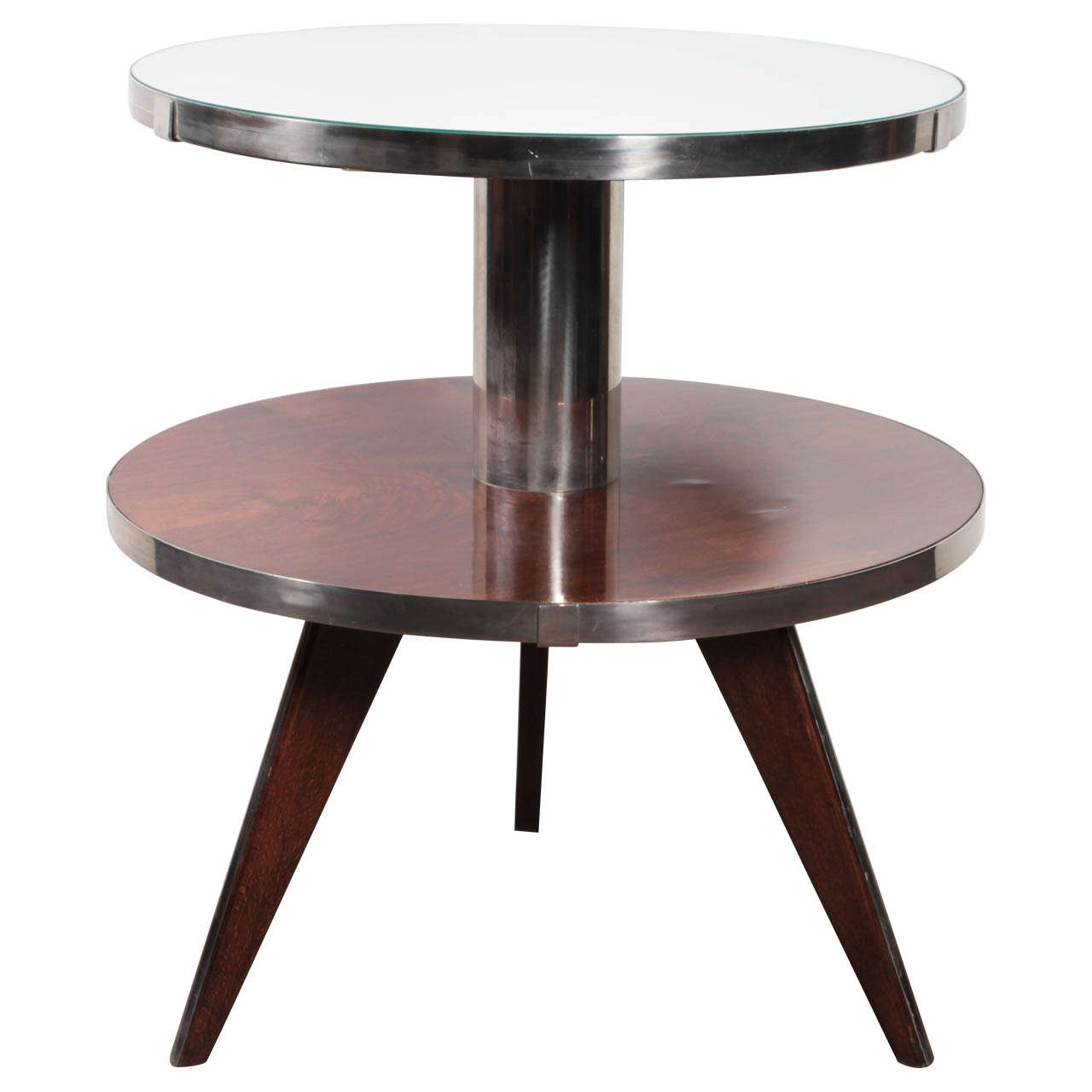 French Modern Occasional Table in Wood, Mirror, Nickelled Bronze, Maurice