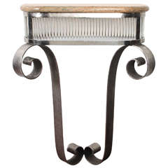 French Art Deco Hammered Iron and Glass Tulip Console, Nickel-Plated, 1930