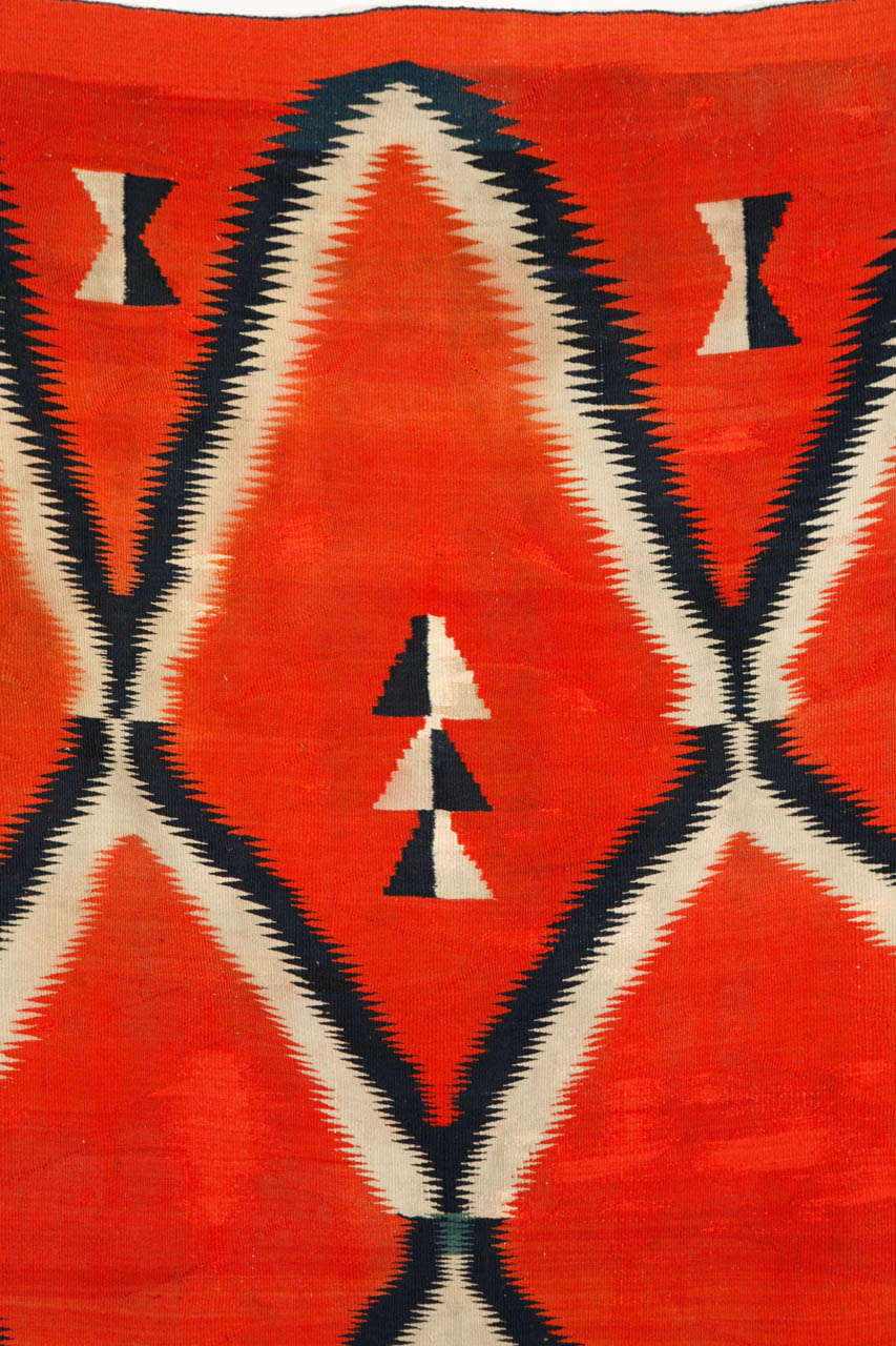 19th Century, Navajo Transitional Blanket In Fair Condition For Sale In Van Nuys, CA