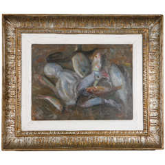"""Still Life of Sea Creatures"", Turn of 20th Century, Signed Italian Oil Painting"