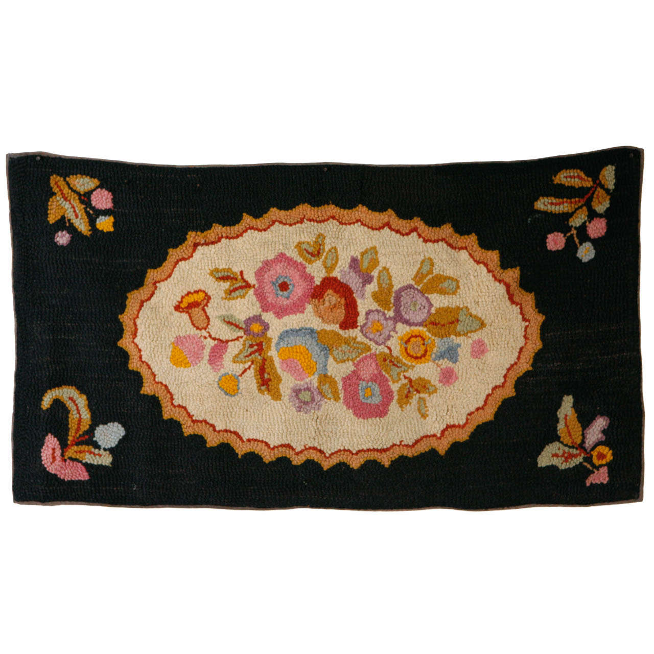 19th Century American Hooked Rug For Sale