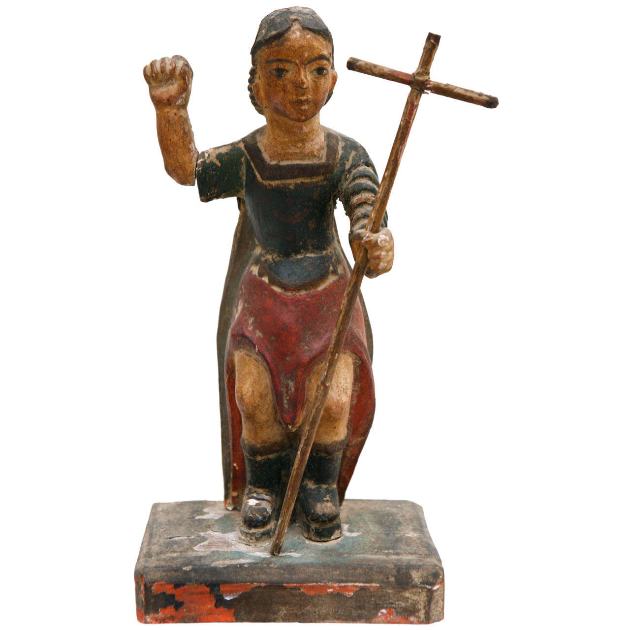 19th Century Spanish Colonial Bultos Figure, Likely San Miguel