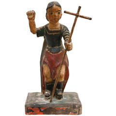19th Century Spanish Colonial Bultos Figure, Likely San Miguel