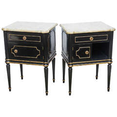 Pair of Maison Jensen Commodes with Marble Tops, 20th Century