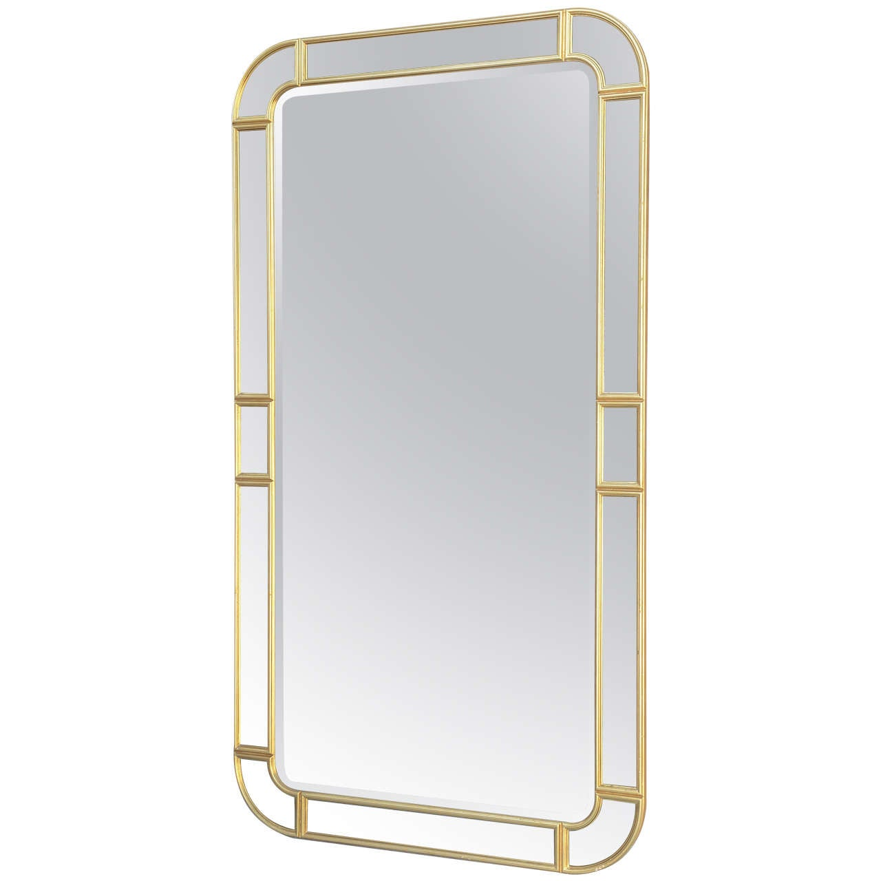 Oversized giltwood mirror with mirrored relief border for for Oversized mirror