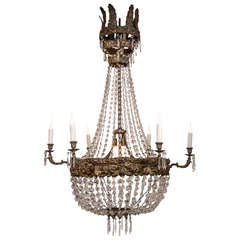 Large Early 19th Century Italian Repoussé and Crystal Chandelier