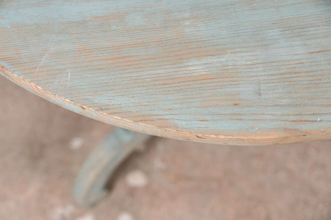 Pine 19th Century Blue Painted Swedish Pedestal Table