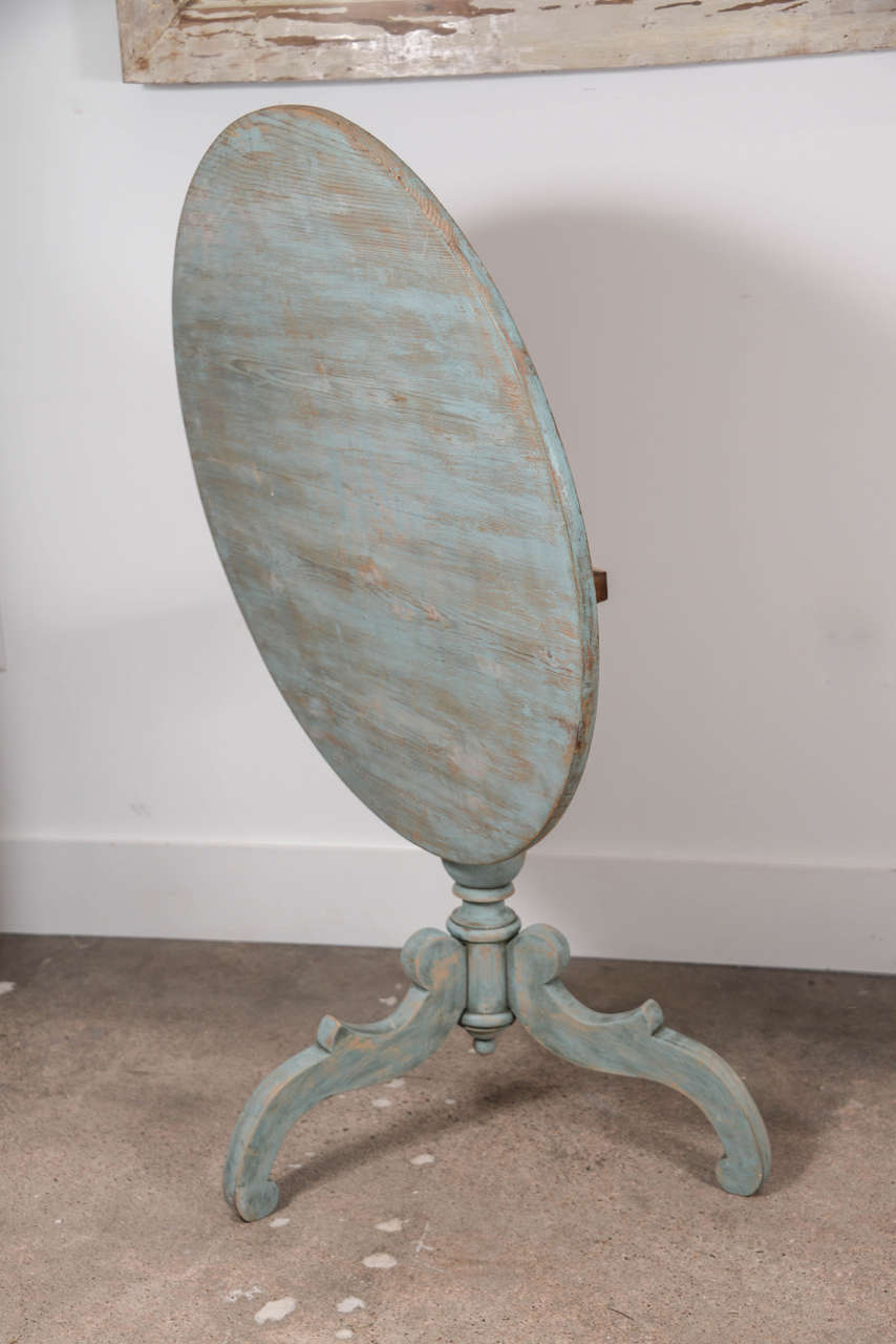 19th Century Blue Painted Swedish Pedestal Table 4
