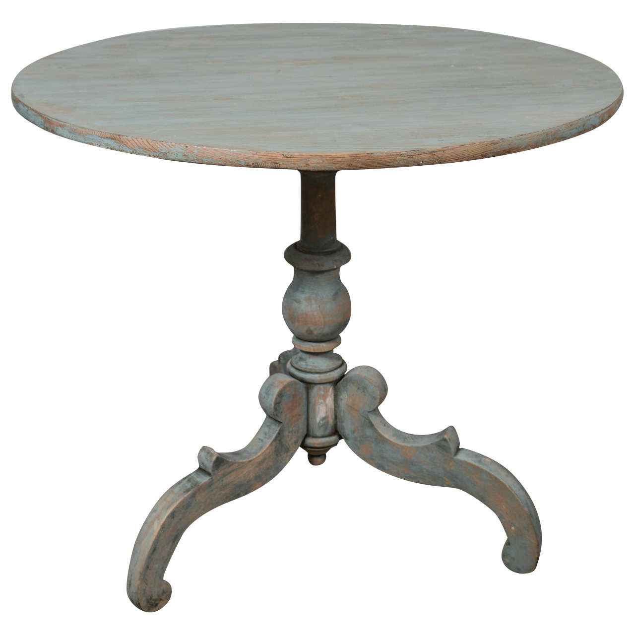 19th Century Blue Painted Swedish Pedestal Table