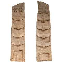 Two Tribal Carved Wooden Carvings from a Naga Structure, Northern India