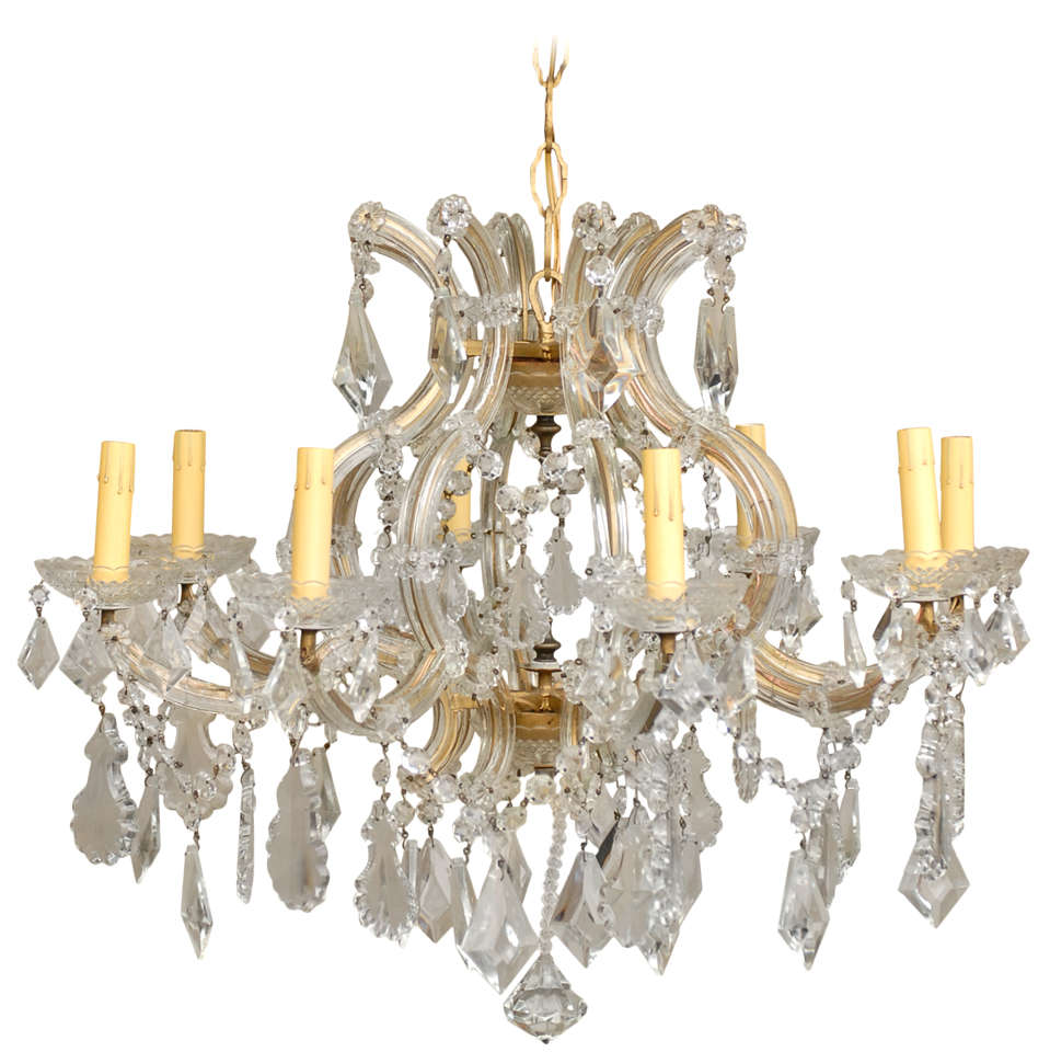 Italian Eight-Light Maria-Theresa Style Vintage Crystal Chandelier 1 - Italian Eight-Light Maria-Theresa Style Vintage Crystal Chandelier