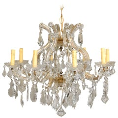 Italian Eight-Light Maria-Theresa Style Vintage Crystal Chandelier