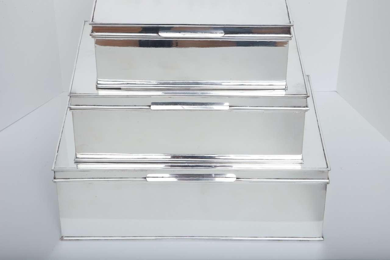 Modern Oversized Handmade Silver-Plate Boxes 3