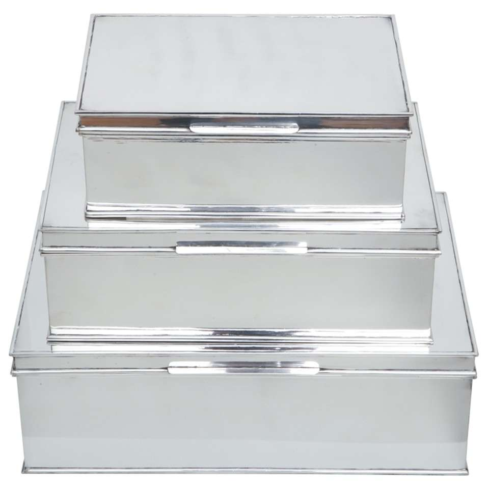 Modern Oversized Handmade Silver-Plate Boxes 1
