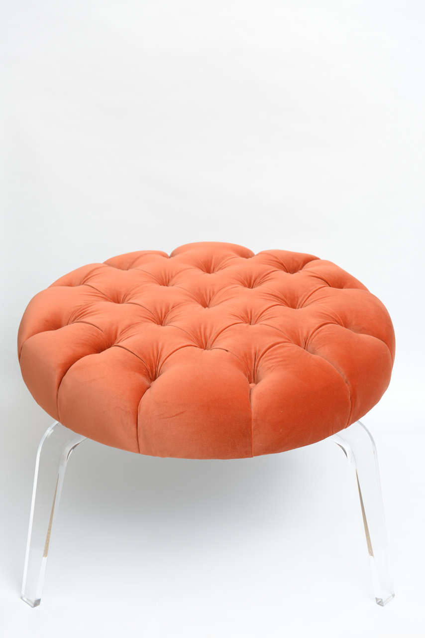 American Round Tufted Ottoman On Lucite Base For