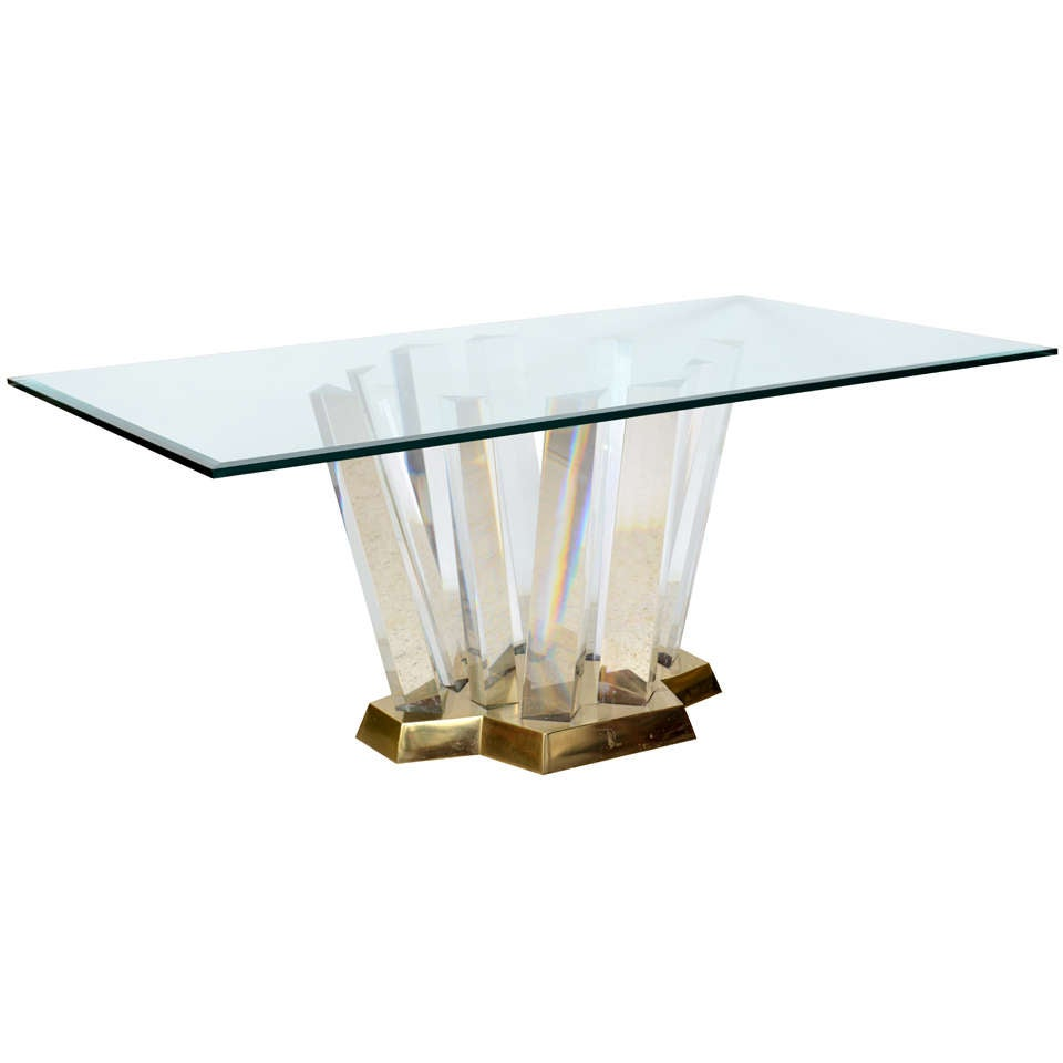 Dining Table: Glass Lucite Dining Table