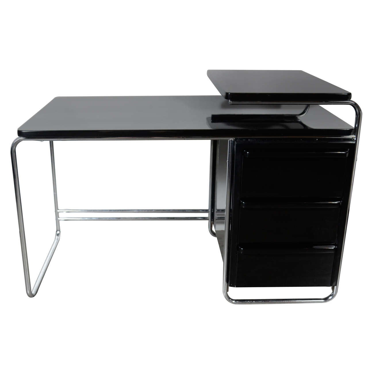 art deco bauhaus style desk by wolfgang hoffmann in black lacquer and chrome black lacquer furniture paint