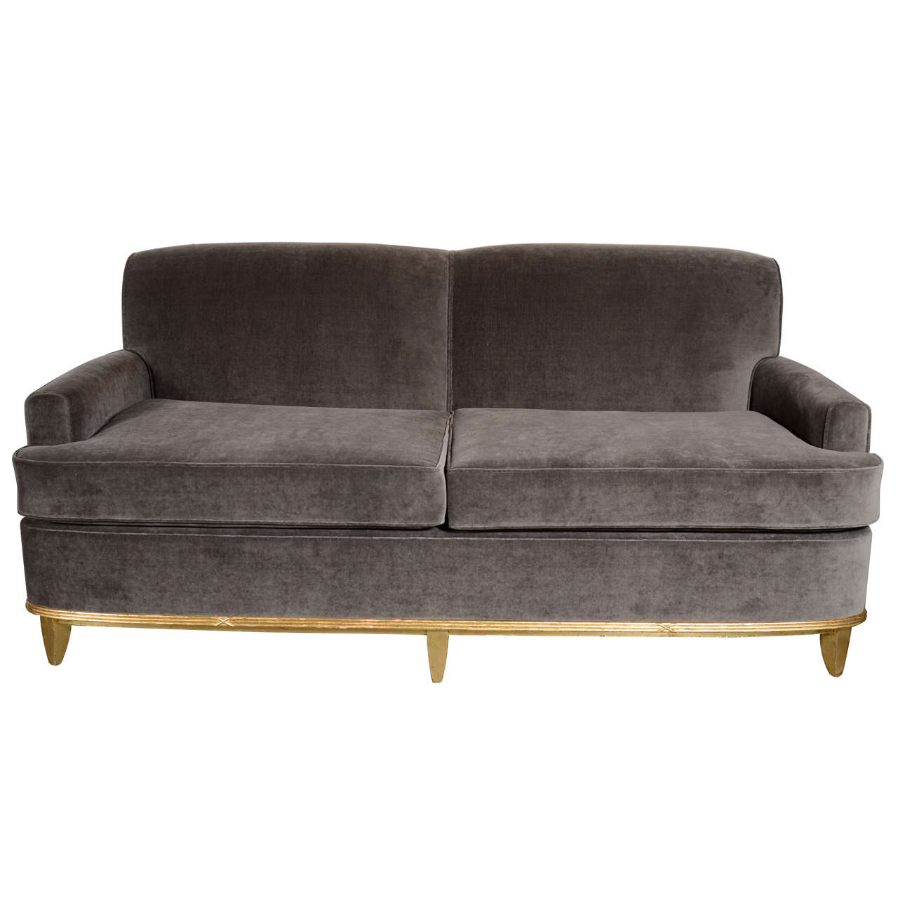 art deco normandy sofa in grey mohair and gilt detailing at 1stdibs. Black Bedroom Furniture Sets. Home Design Ideas