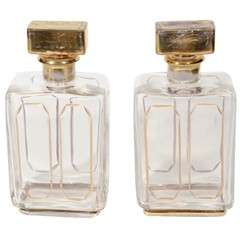 Pair of Empire-Style Rectangular Gold-detailed Decanters
