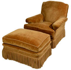 French Velvet Upholstered Chair with Ottoman