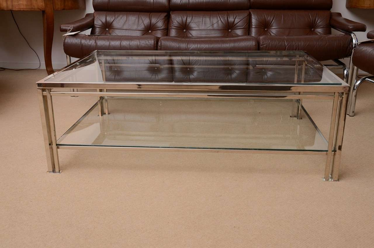 's french twotier chrome and glass coffee table at stdibs - 's french twotier chrome and glass coffee table