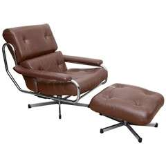 1960's Pieff Leather and Chrome Swivel Chair with Ottoman