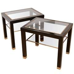 Pair of 1960's French Ebonized Wood and Brass Side Tables