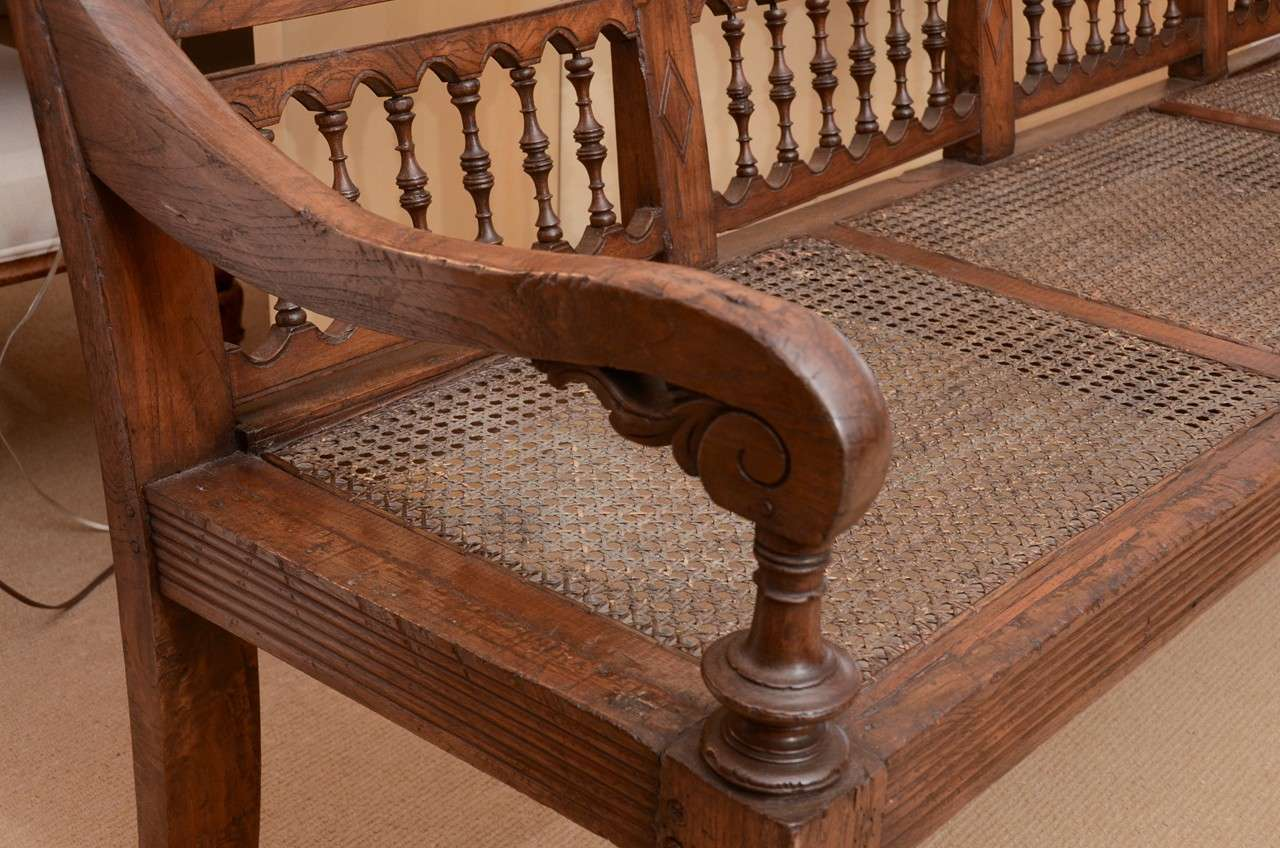 Early 19th Century Anglo-Indian Caned Teakwood Bench In Excellent Condition  For Sale In East