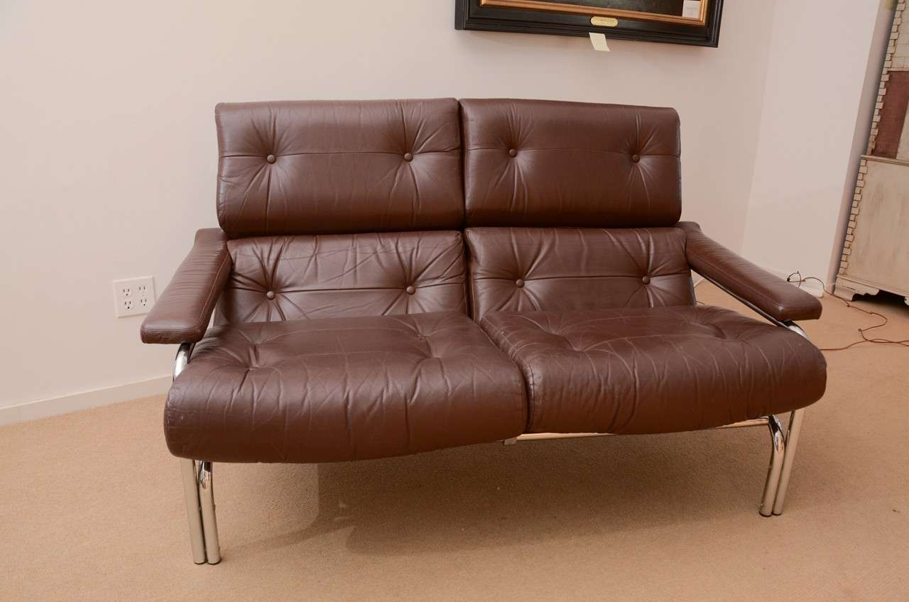 1960 S Pieff Leather And Chrome Two Seat Sofa At 1stdibs