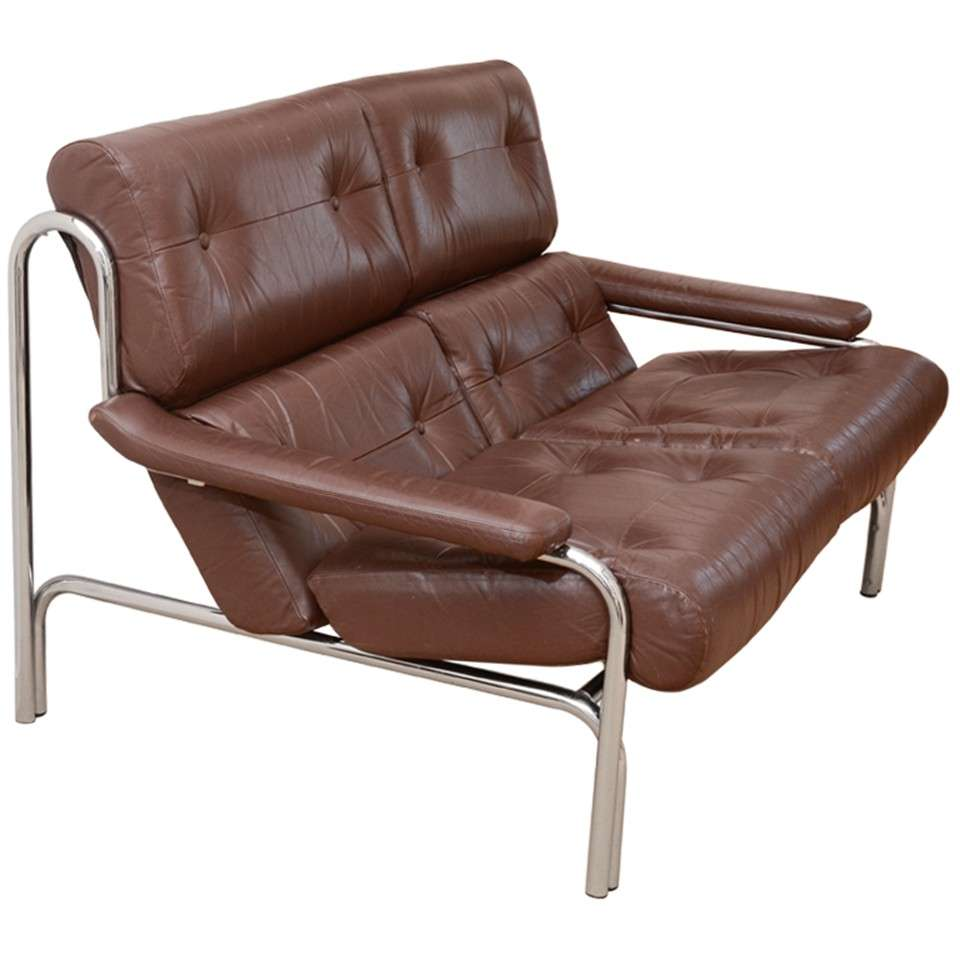 1960 39 S Pieff Leather And Chrome Two Seat Sofa At 1stdibs