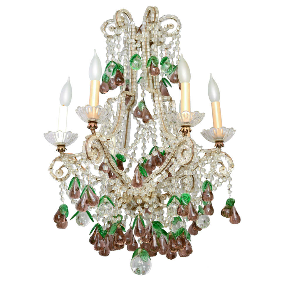 Italian maria theresa six light chandelier adorned with amethyst italian maria theresa six light chandelier adorned with amethyst glass pears 1 arubaitofo Choice Image