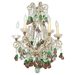 Italian Maria Theresa Six-Light Chandelier Adorned with Amethyst Glass Pears