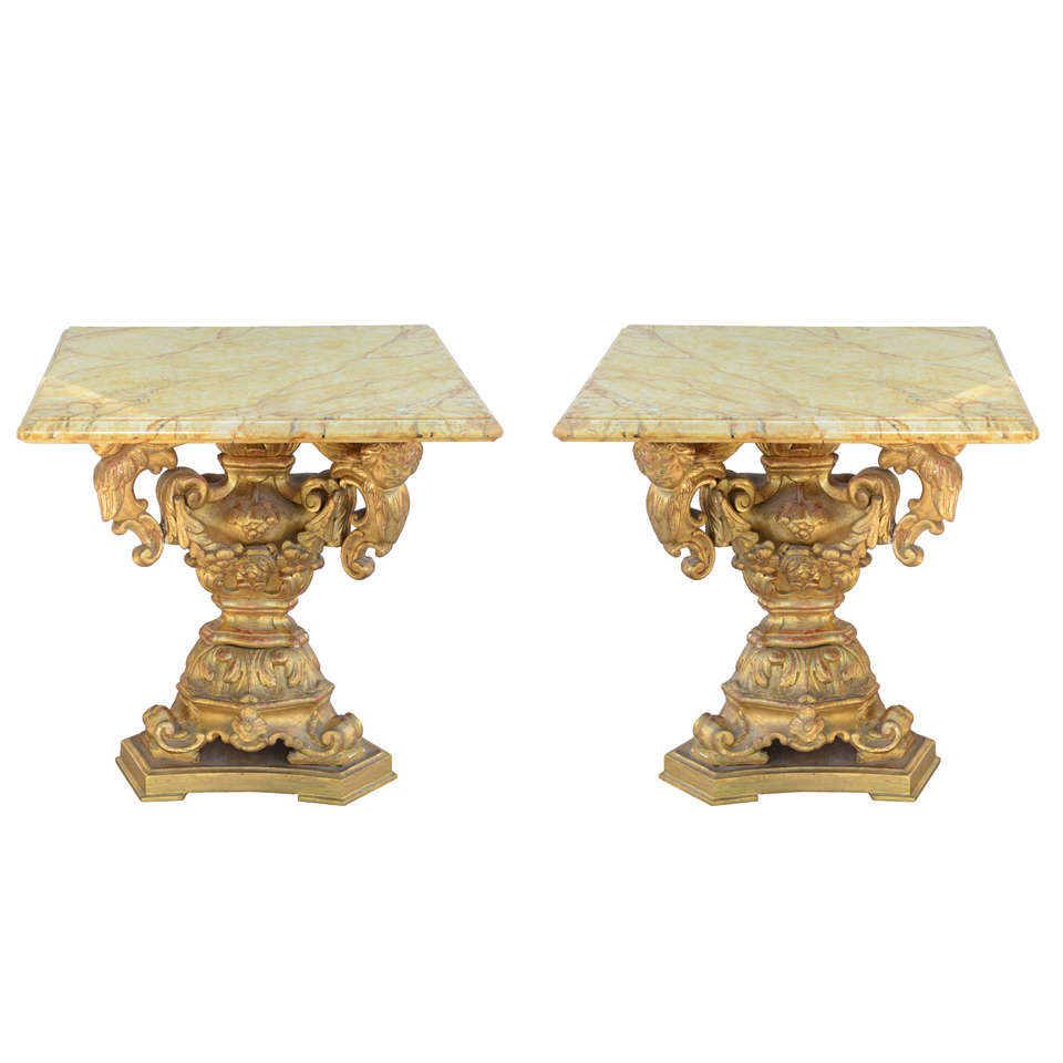 Unusual Pair Accent Tables Made With Pricket Bases At 1stdibs
