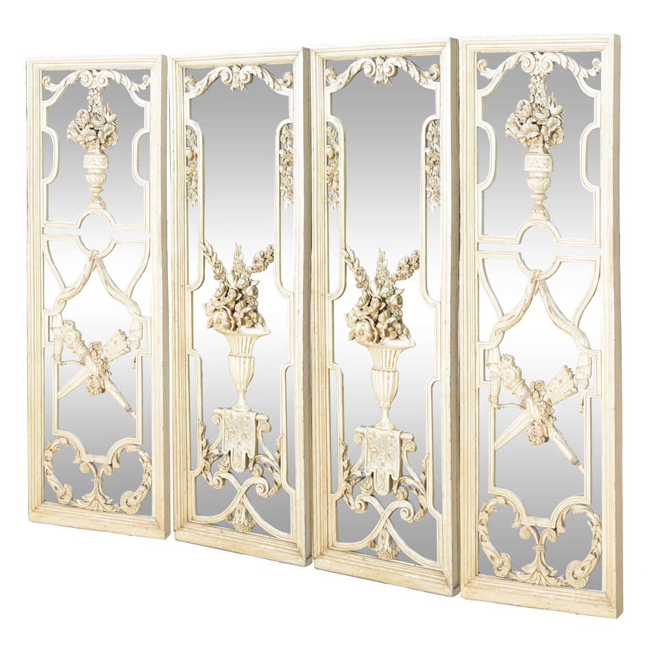 Decorative Wall Mirror Panels : Spectacular set of four carved wood mirrored panels at stdibs