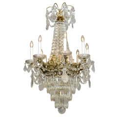 Bronze and Crystal Eight-light 19c. French Chandelier