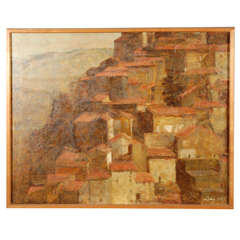 Modern Oil Painting of Anticoli Corrado, Italy by Artist Lacy Circa 1967