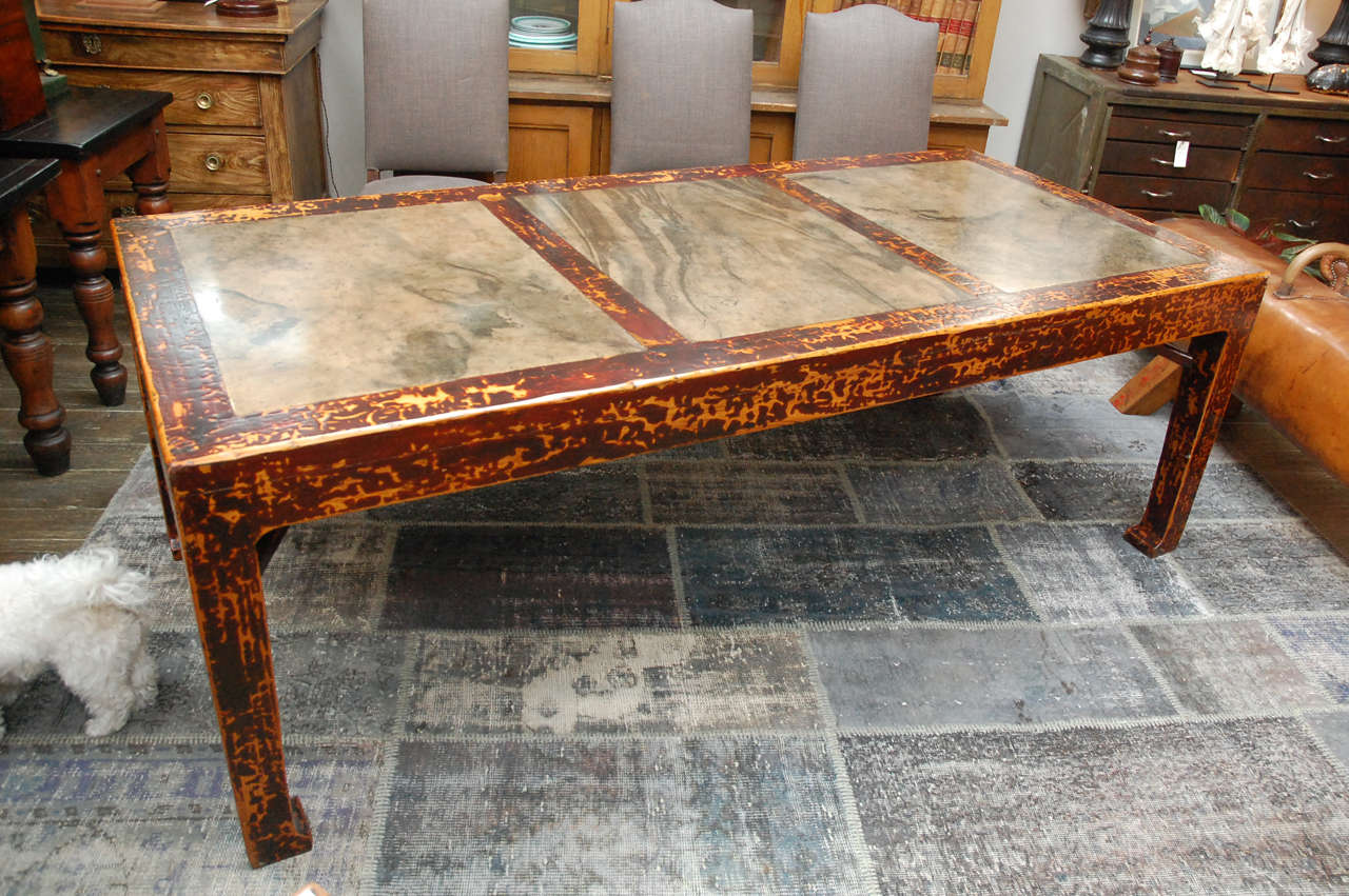 Chinese Lacquer And Stone Table Circa 1860 For Sale At