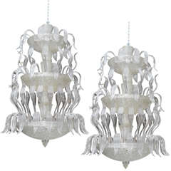 Two Exceptional Barovier and Toso Glass Chandeliers
