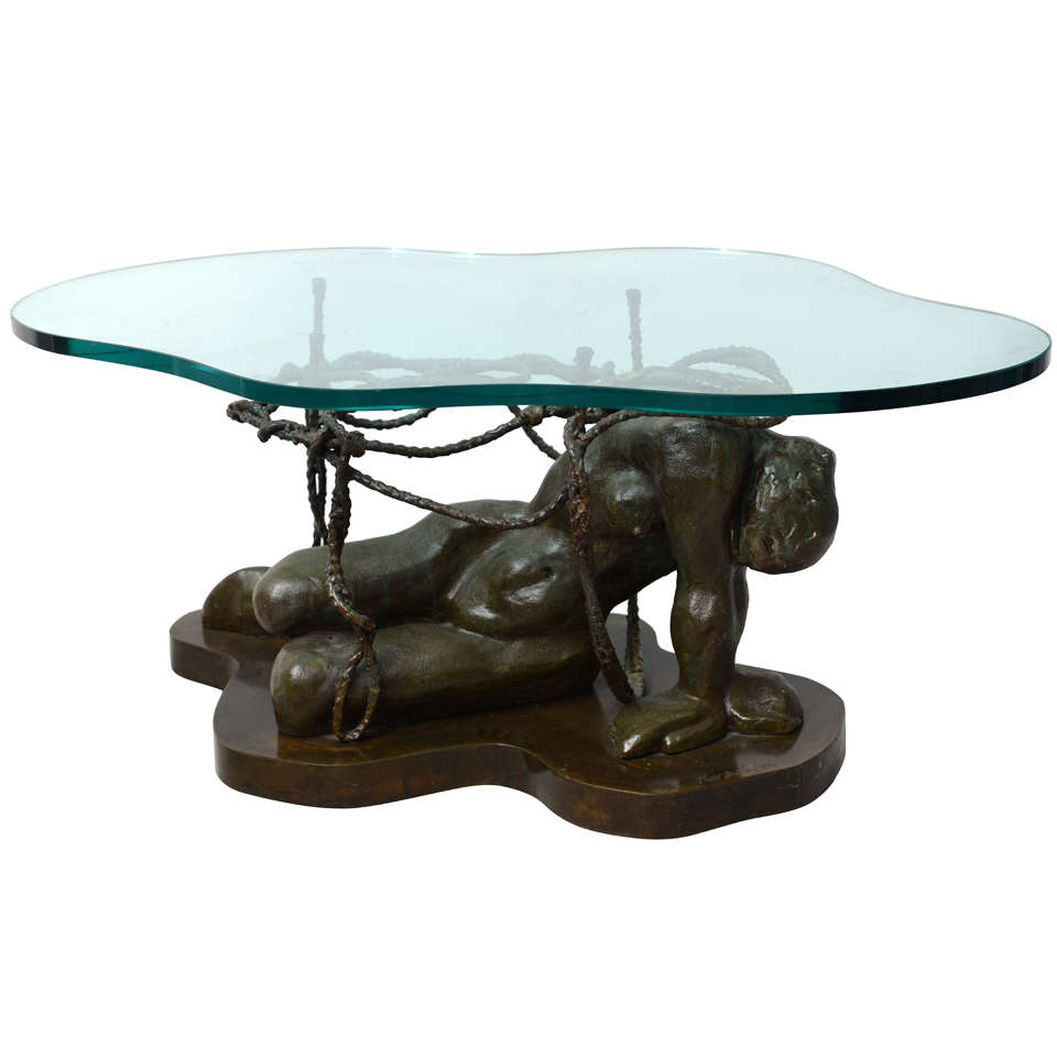 Rare bronze laverne figural table at 1stdibs Bronze coffee tables