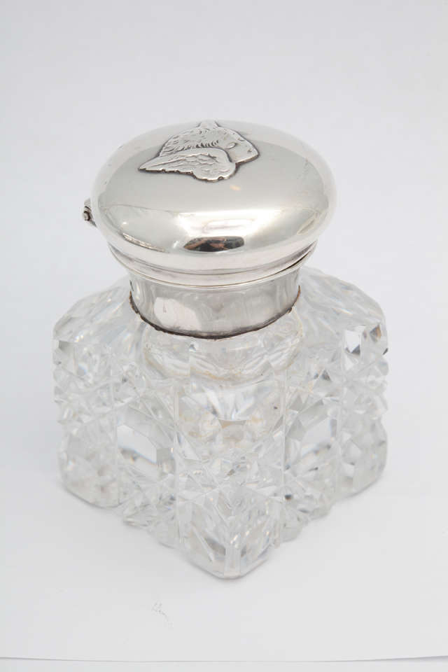 20th Century Victorian, Sterling Silver Footed Cherub-Motif Inkstand By William Comyns For Sale