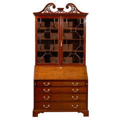 Early George III Period Bureau Bookcase with Swan Neck Pediment